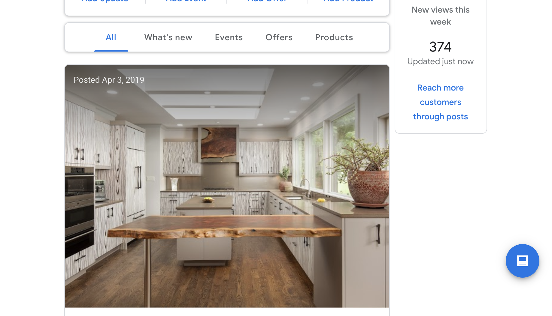 Google My Business Insights homepage